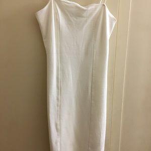 Little white Spaghetti strap thigh length dress